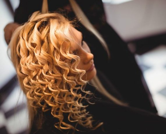 Close-up of woman in hair salon